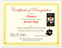 Hero Dog Certificate from Animal Humane Society